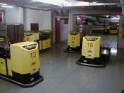 AGV in an automated storage area with radio data communication