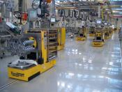 Optically guided AGV in an engine factory