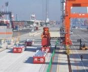 Harbour area with AGVs and container cranes
