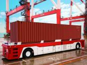 Driverless container transporter with navigation along transponders, Toyota, Aichi, Japan